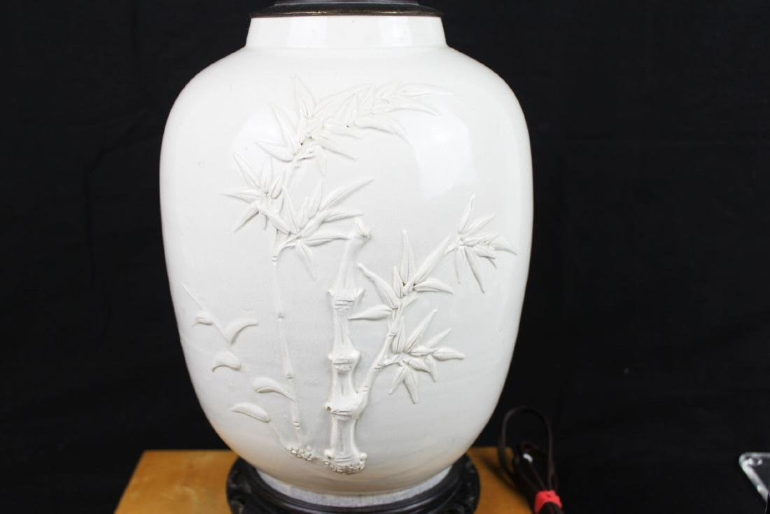Antique Chinese White Porcelain Lamp - 8