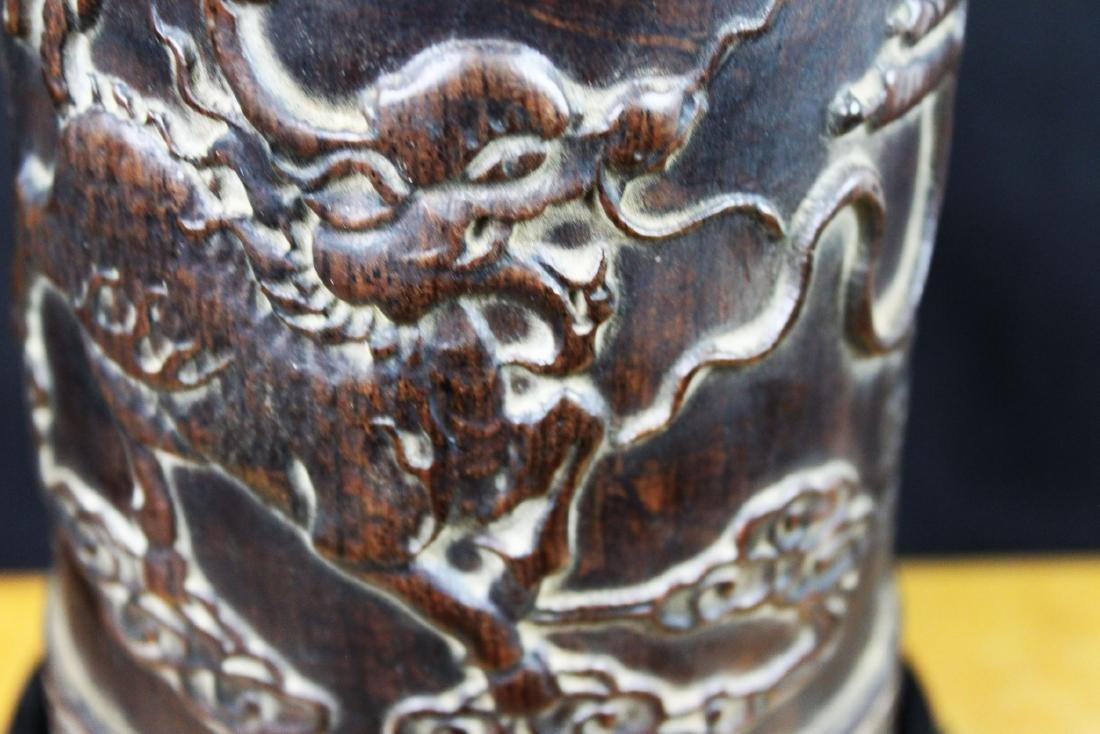 Antique Hand Carved Wood Pen Holder - 4