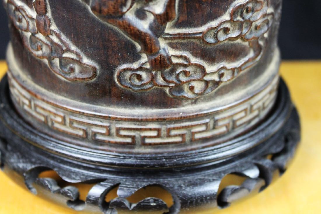 Antique Hand Carved Wood Pen Holder - 5