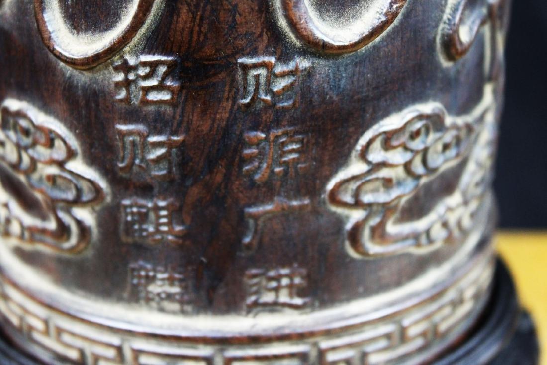 Antique Hand Carved Wood Pen Holder - 9