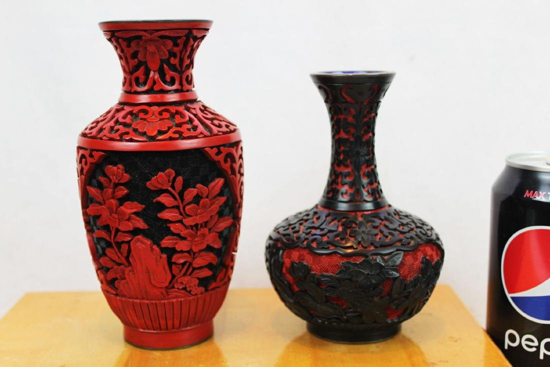 Two Antique Cinnabar Lacquered Vases