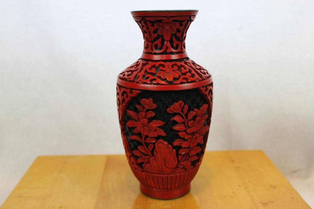 Two Antique Cinnabar Lacquered Vases - 2