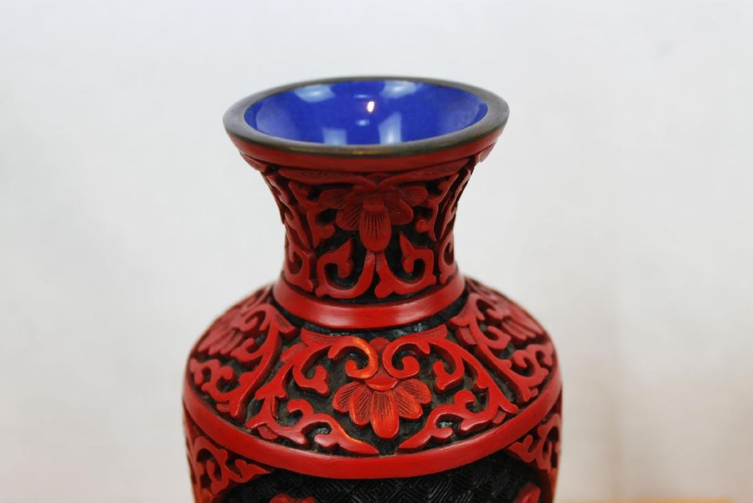 Two Antique Cinnabar Lacquered Vases - 3