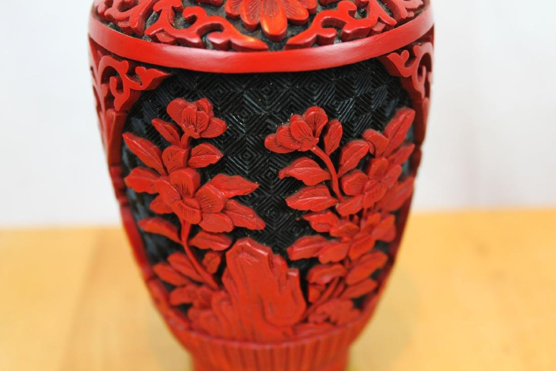 Two Antique Cinnabar Lacquered Vases - 4