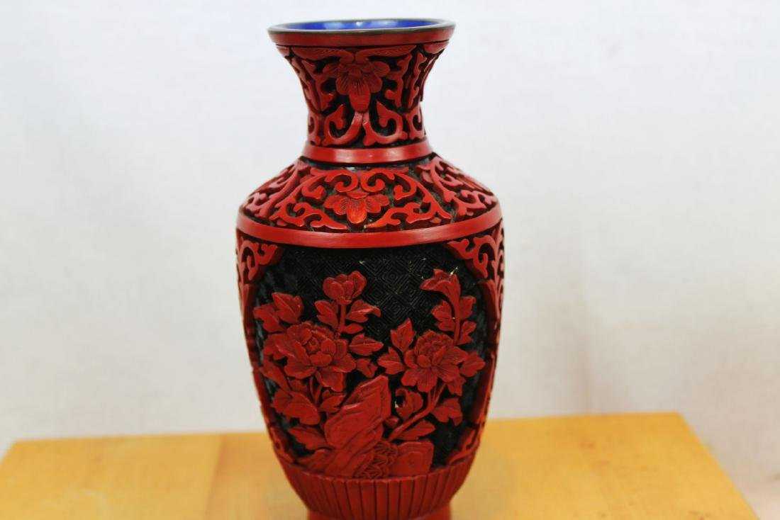 Two Antique Cinnabar Lacquered Vases - 5