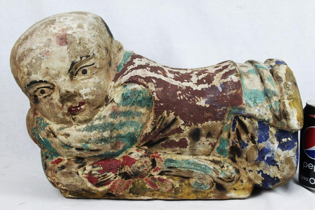 Antique Chinese Wood Pillow from 1800s
