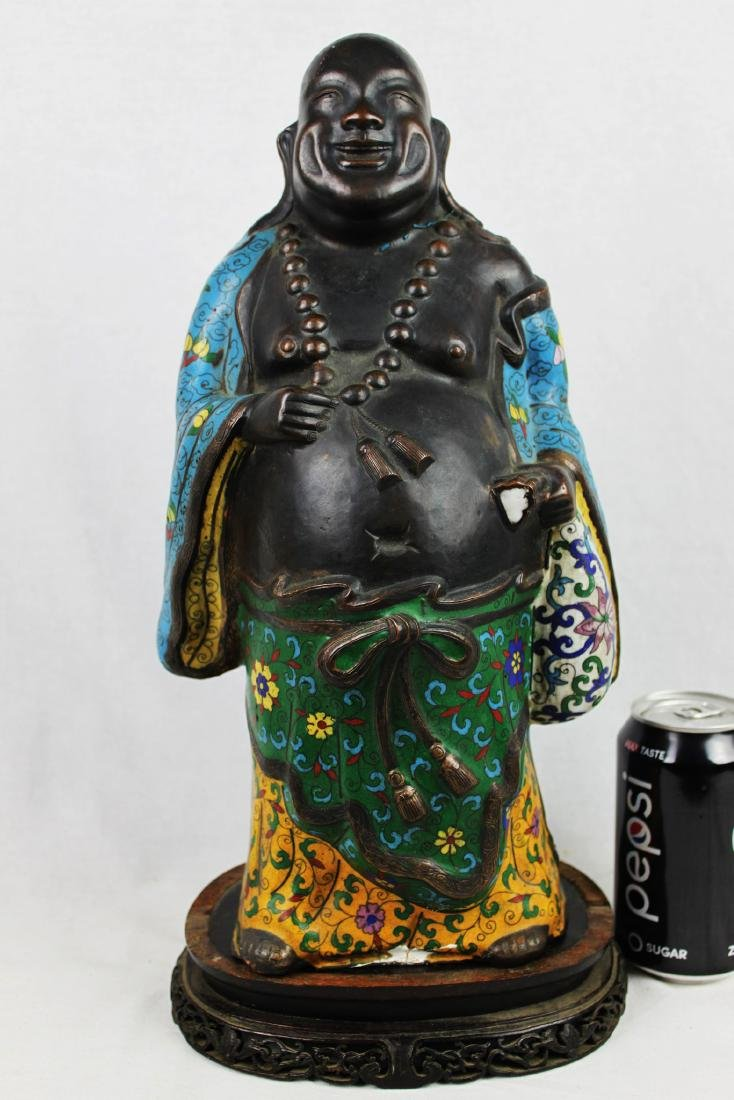 Antique Chinese cloisonne & bronze figure of Buddha