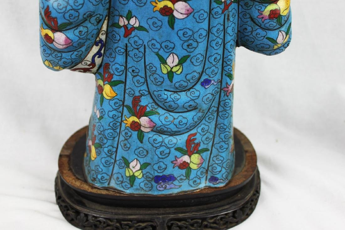 Antique Chinese cloisonne & bronze figure of Buddha - 7