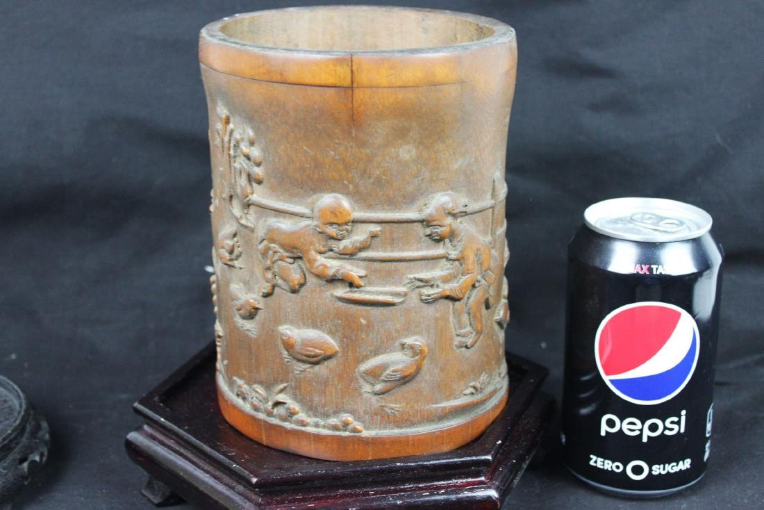 Antique Chinese Bamboo Pen Holder - 9