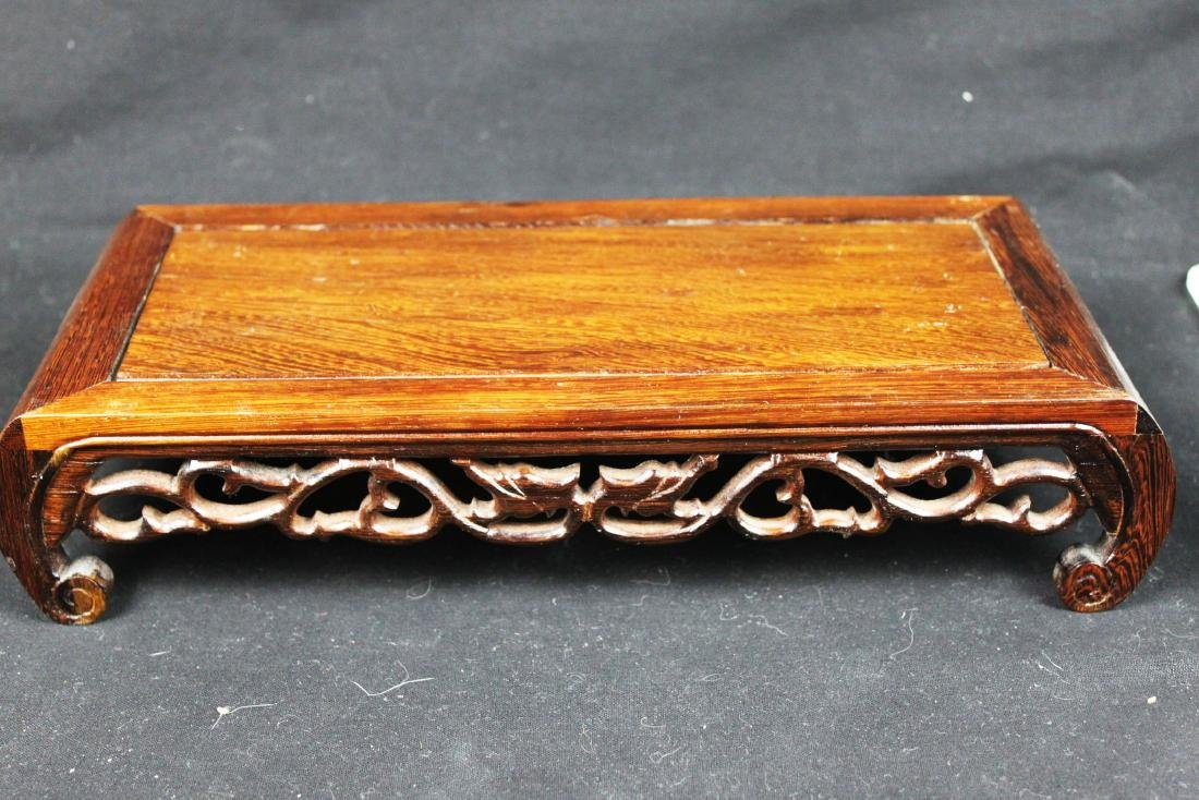 Chinese Hand Carved Wood Base - 5