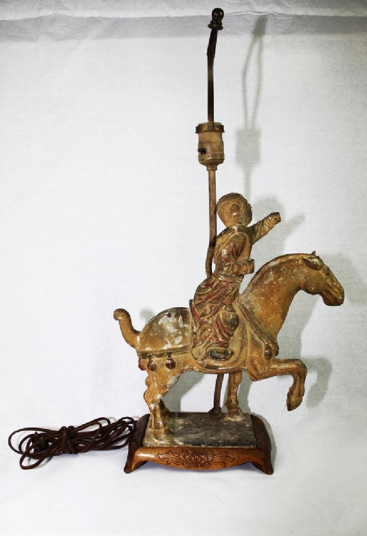 Large Antique Chinese Tang Horse Lamp