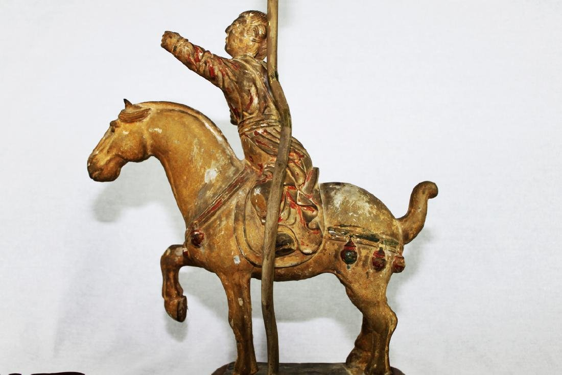Large Antique Chinese Tang Horse Lamp - 6