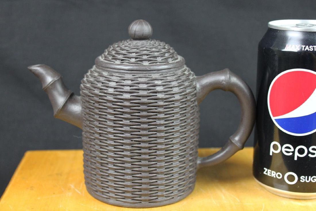 """Antique Chinese Yixing Zisha teapot """"Bamboo style"""""""