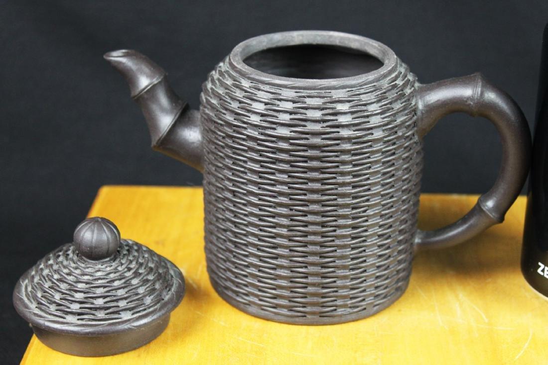 """Antique Chinese Yixing Zisha teapot """"Bamboo style"""" - 2"""
