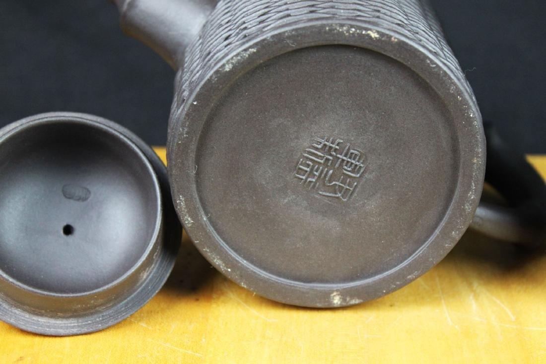 """Antique Chinese Yixing Zisha teapot """"Bamboo style"""" - 3"""