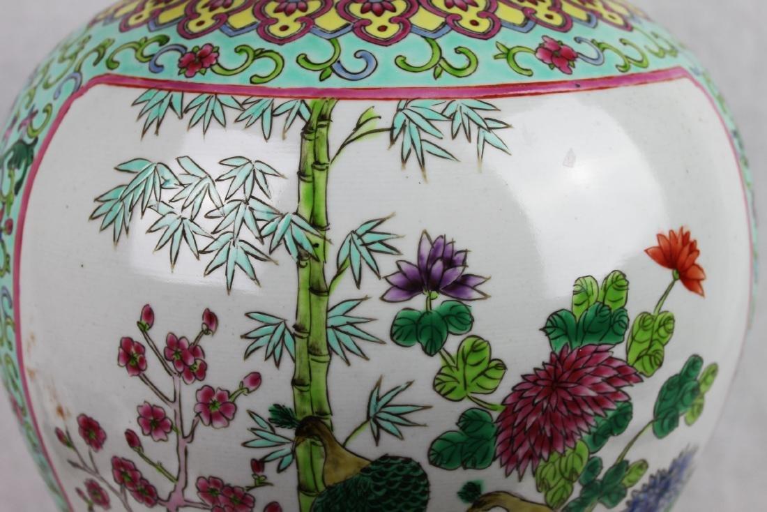 Antique Large Chinese Famillie Rose Porcelain Vase - 9