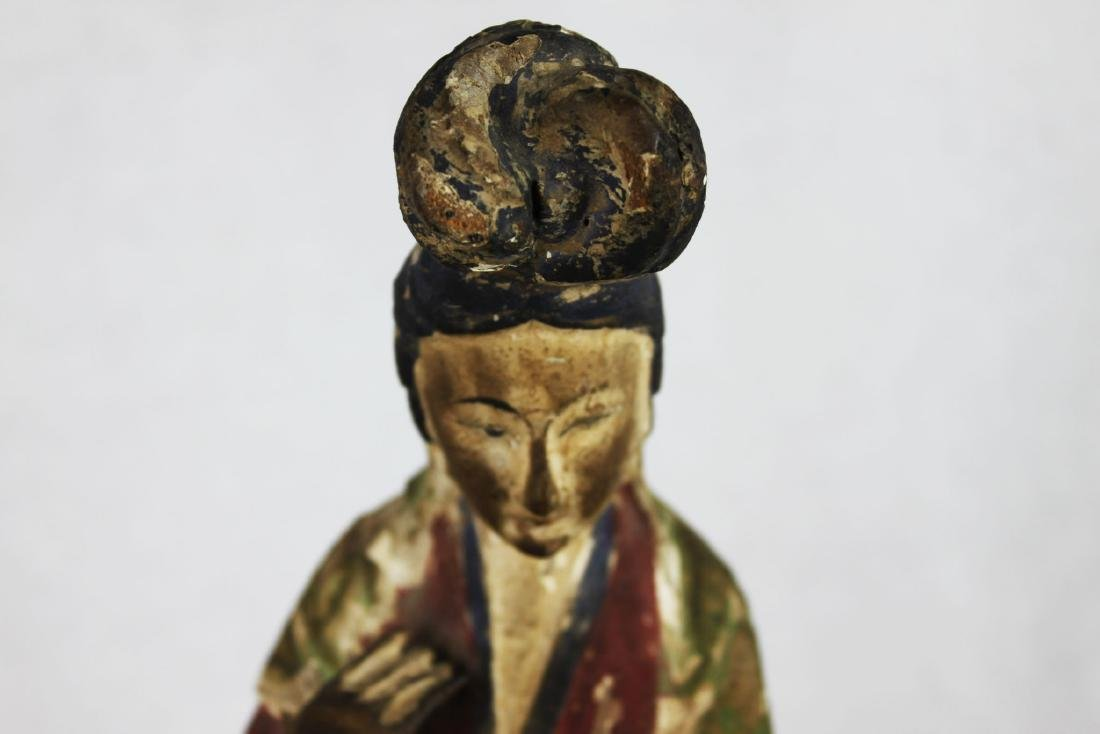 Antique Hand Carved Chinese Woman Statue - 2