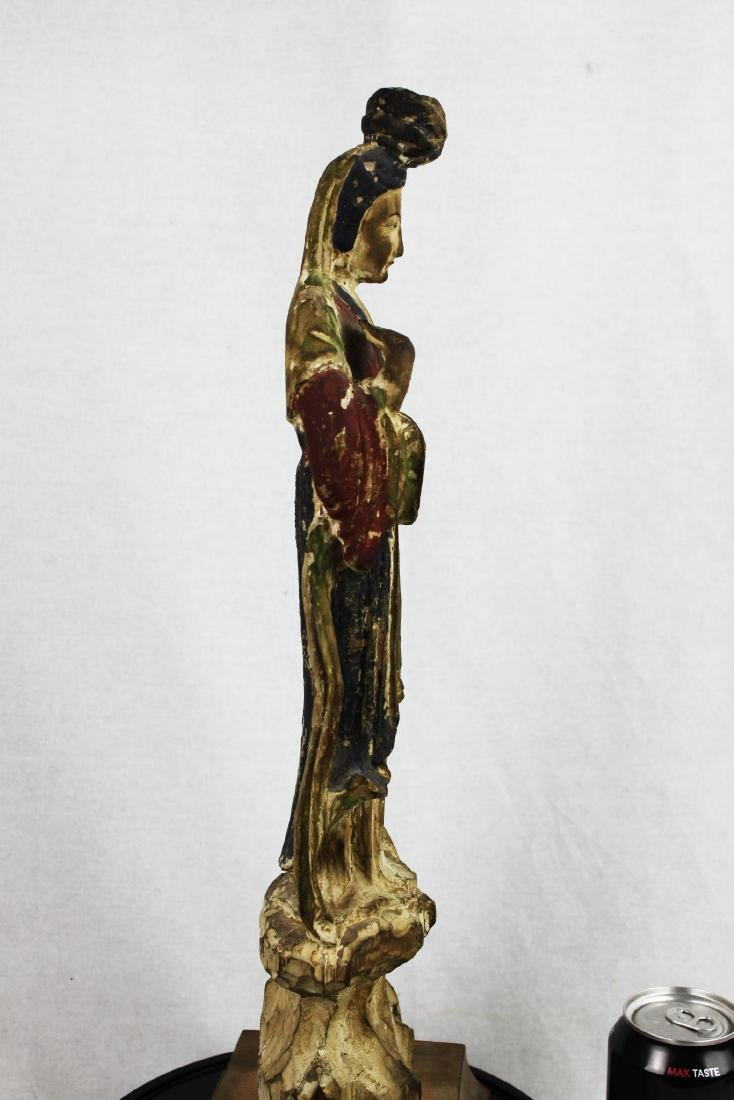 Antique Hand Carved Chinese Woman Statue - 6