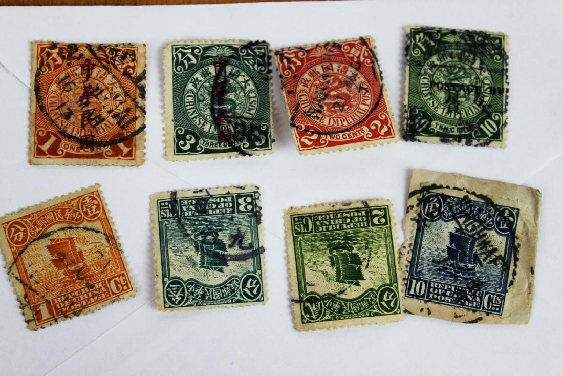 8 Antique Chinese Stamps