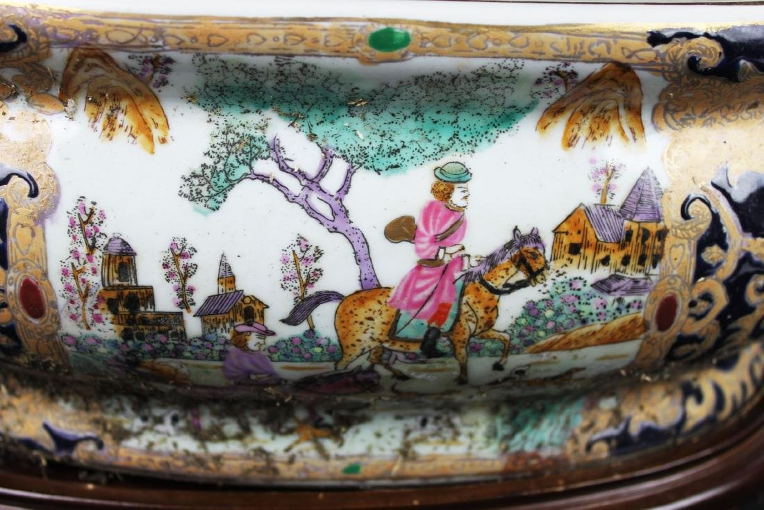 Antique Chinese Porcelain Bowl w/wood stand - 10