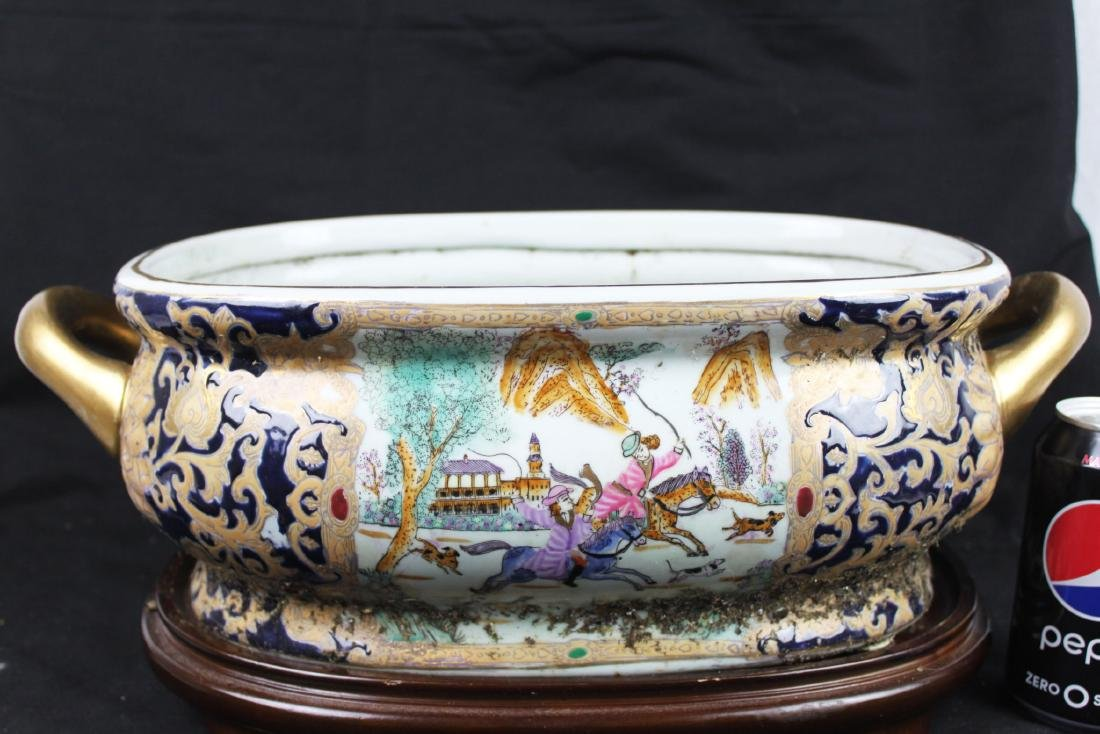 Antique Chinese Porcelain Bowl w/wood stand