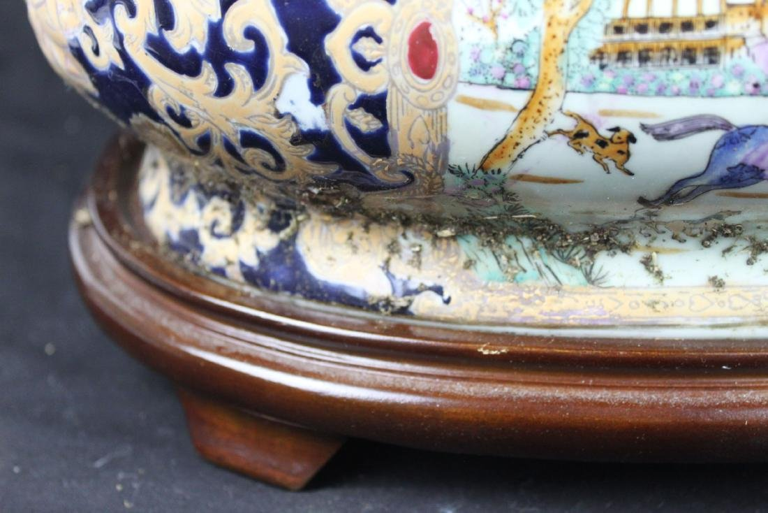 Antique Chinese Porcelain Bowl w/wood stand - 5