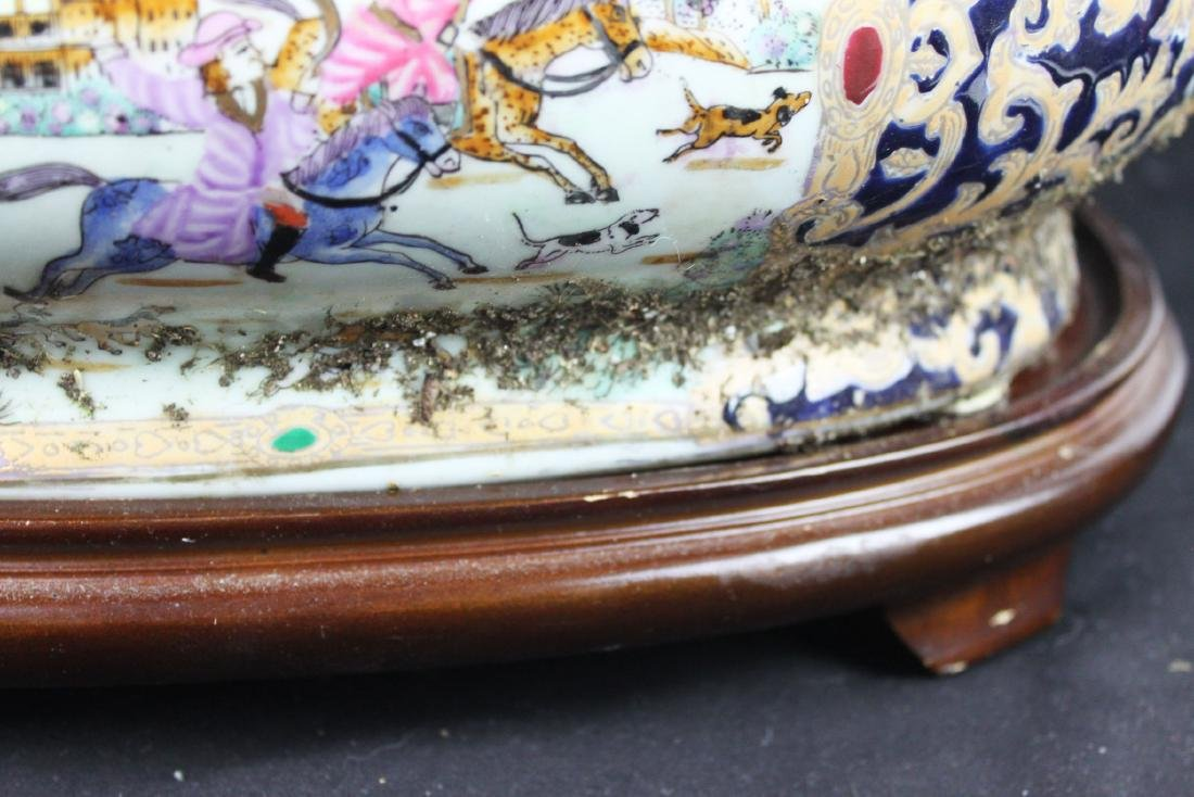 Antique Chinese Porcelain Bowl w/wood stand - 6