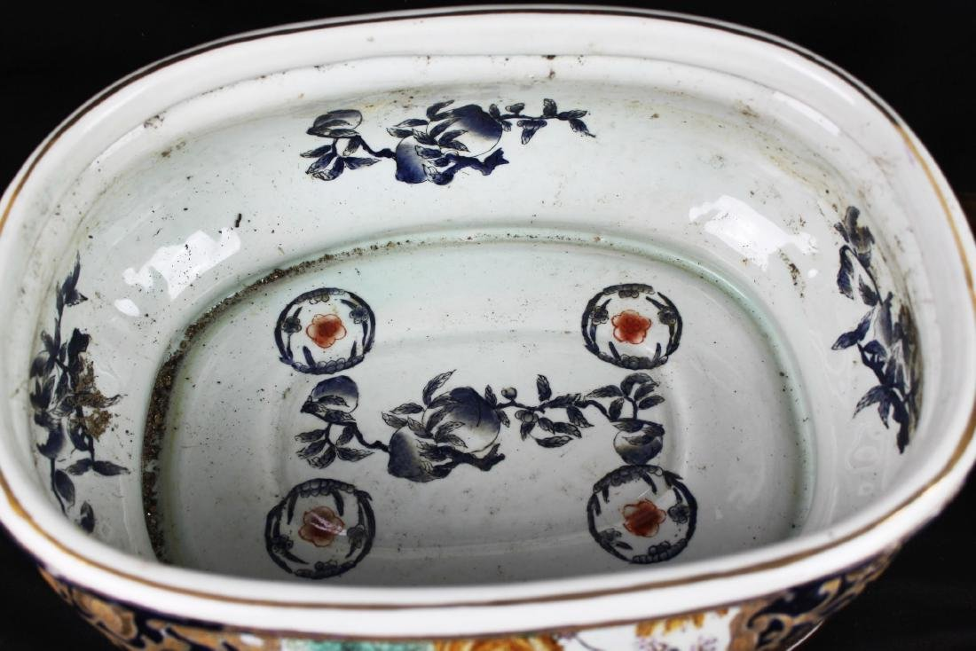 Antique Chinese Porcelain Bowl w/wood stand - 7