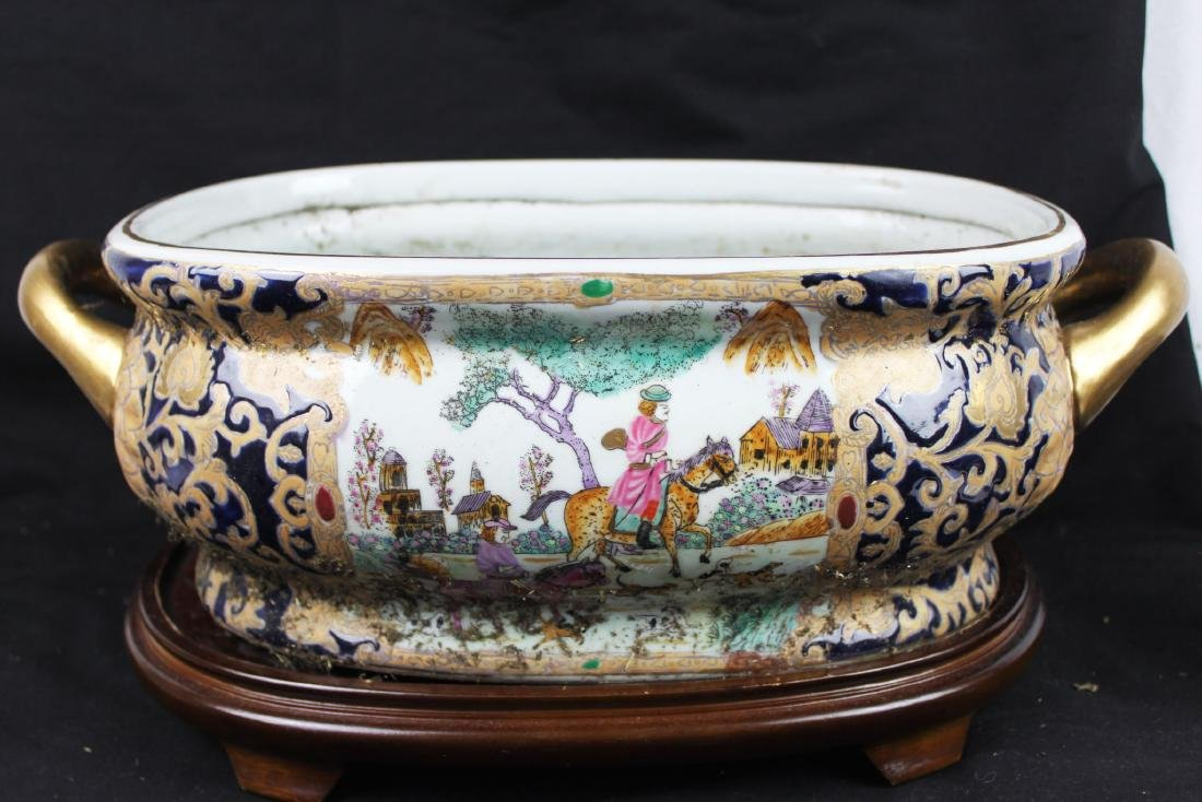 Antique Chinese Porcelain Bowl w/wood stand - 8