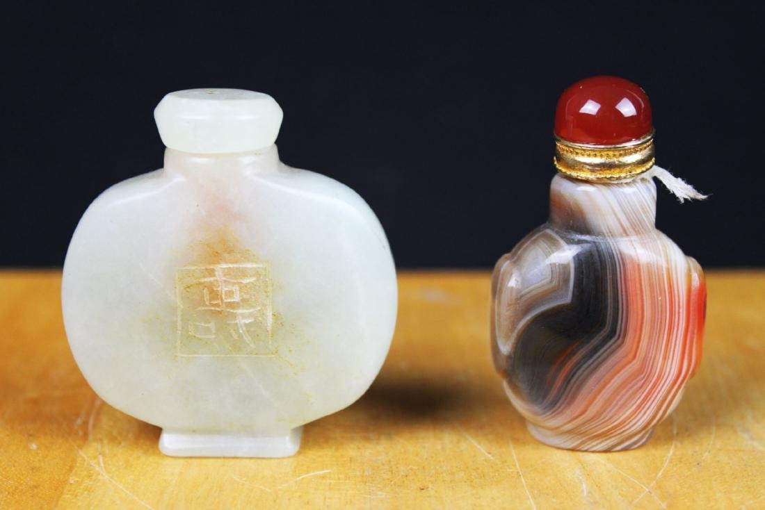 Two Chinese Snuff Bottle-Agate,jade