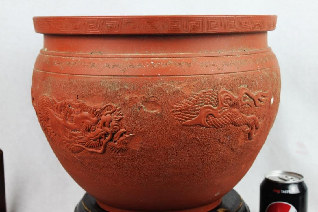 Chinese Zisha Planter with Dragon Pattern