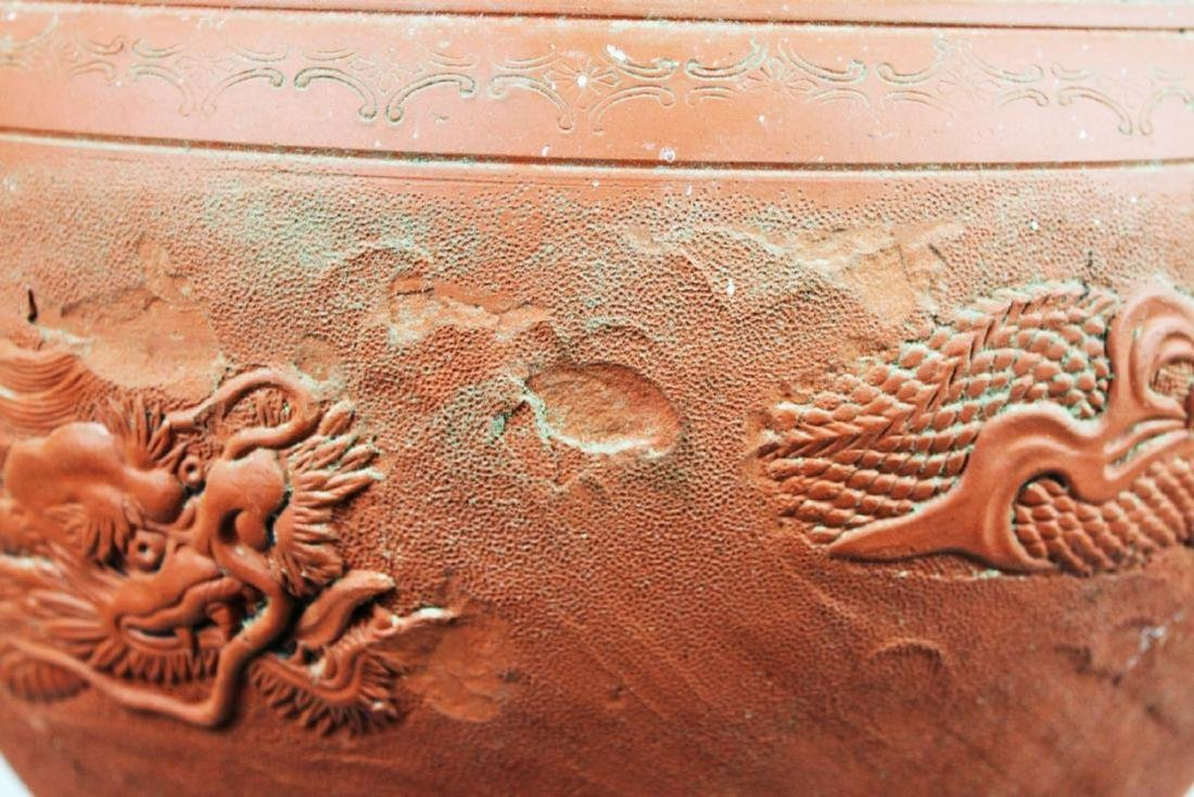 Chinese Zisha Planter with Dragon Pattern - 3