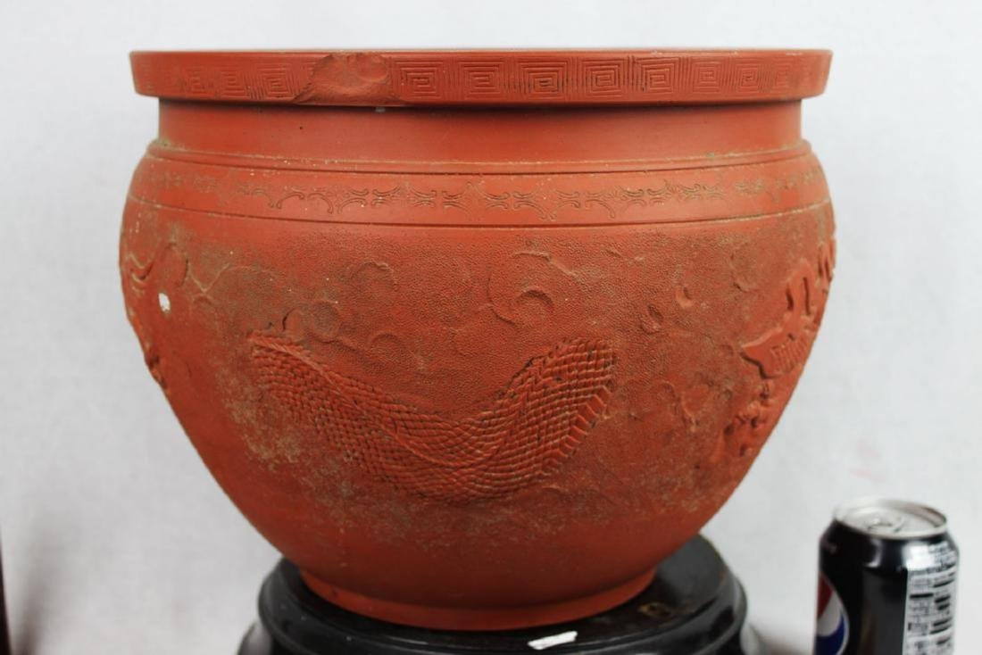 Chinese Zisha Planter with Dragon Pattern - 8