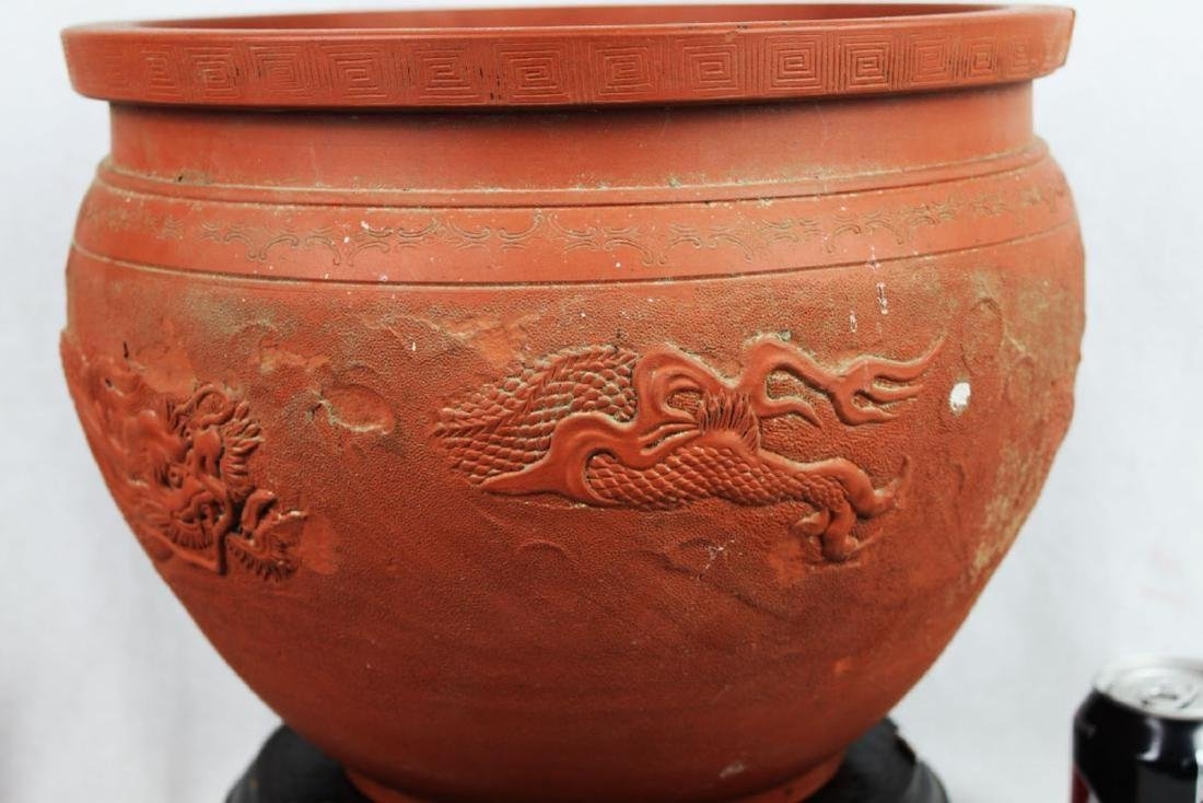 Chinese Zisha Planter with Dragon Pattern - 9