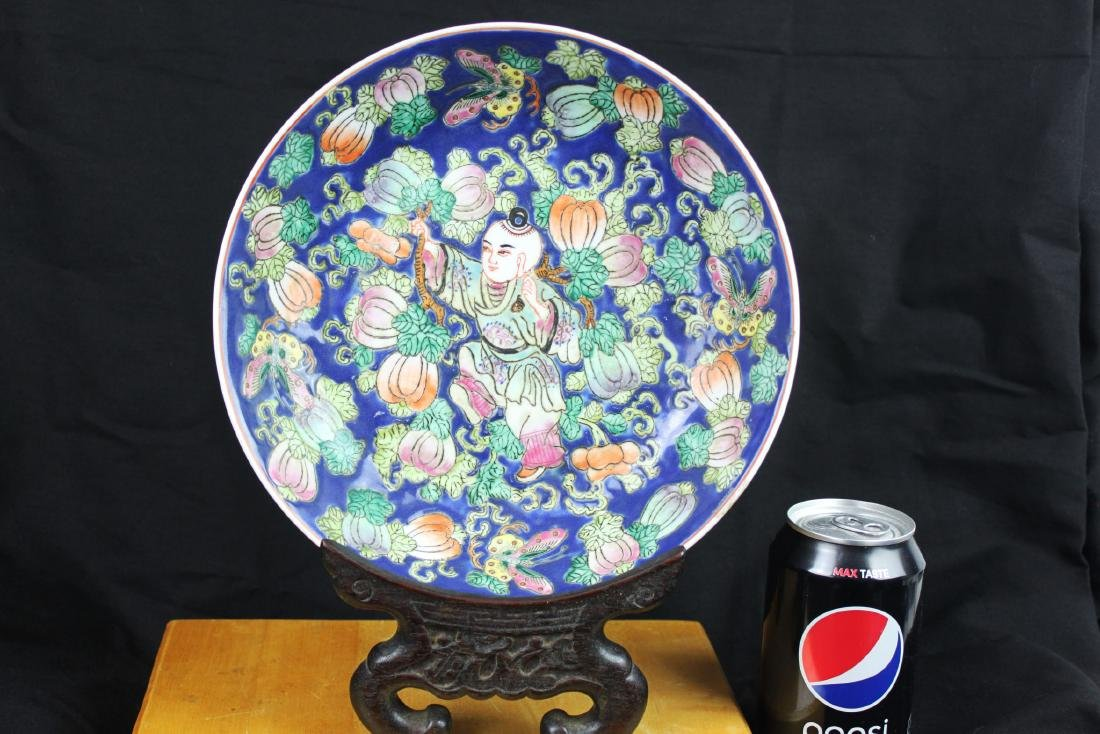 Antique Chinese Wucai Porcelain Plate 1800s