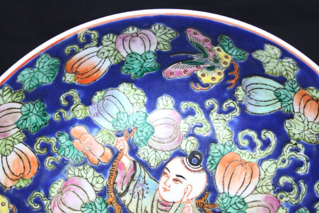 Antique Chinese Wucai Porcelain Plate 1800s - 2