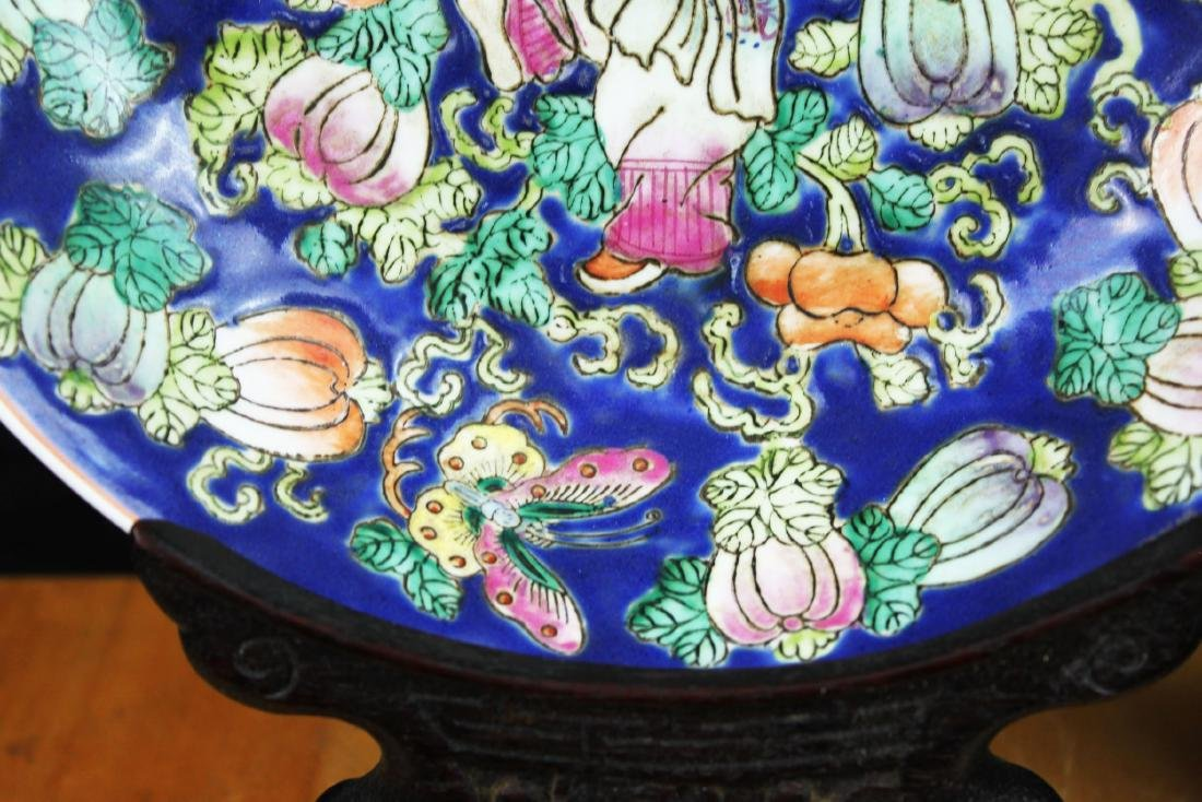 Antique Chinese Wucai Porcelain Plate 1800s - 6