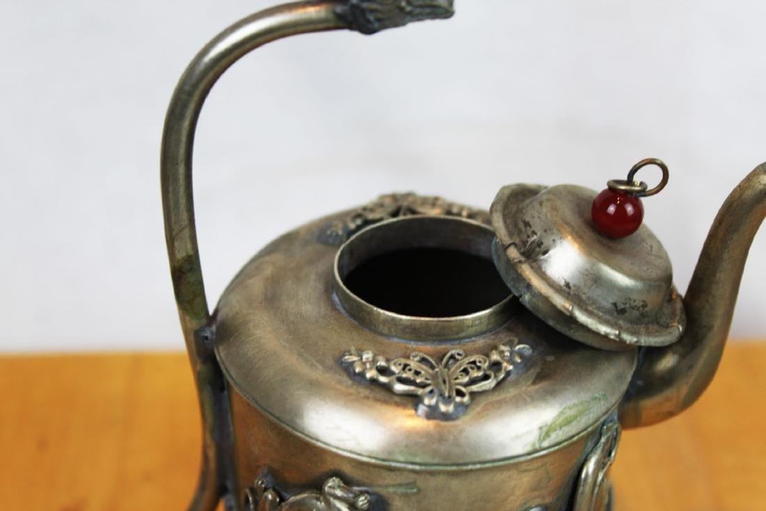 Antique Asian Bronze Teapot - 8