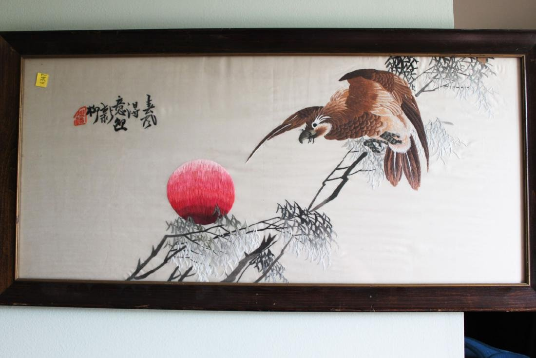 Antique Hand Carved Chinese Silk Painting
