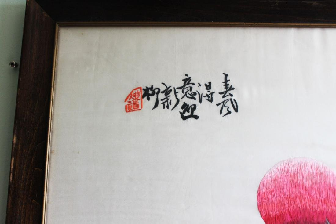 Antique Hand Carved Chinese Silk Painting - 2