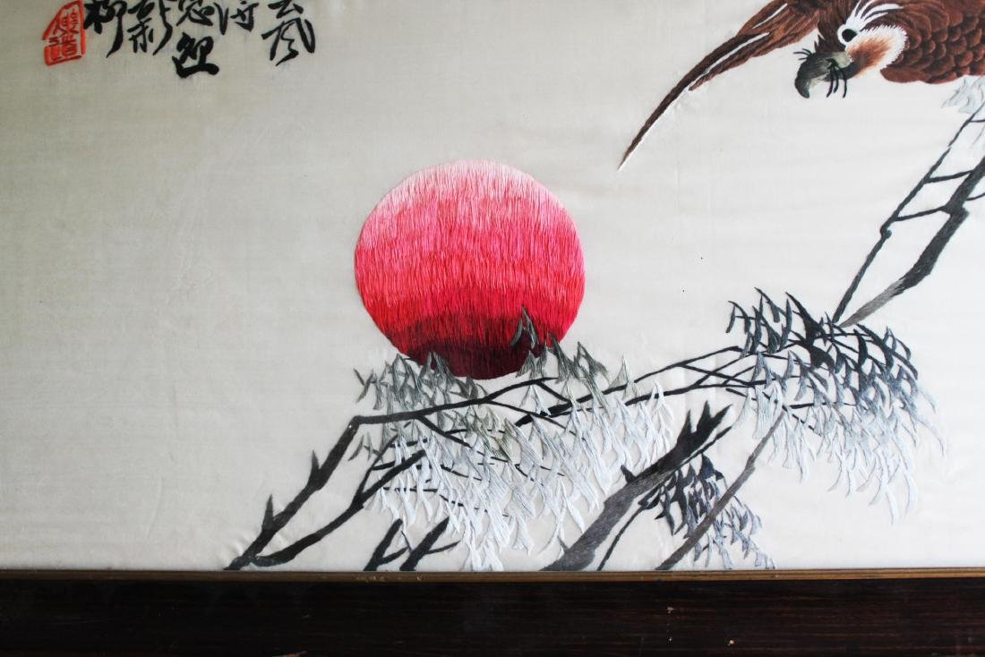 Antique Hand Carved Chinese Silk Painting - 4