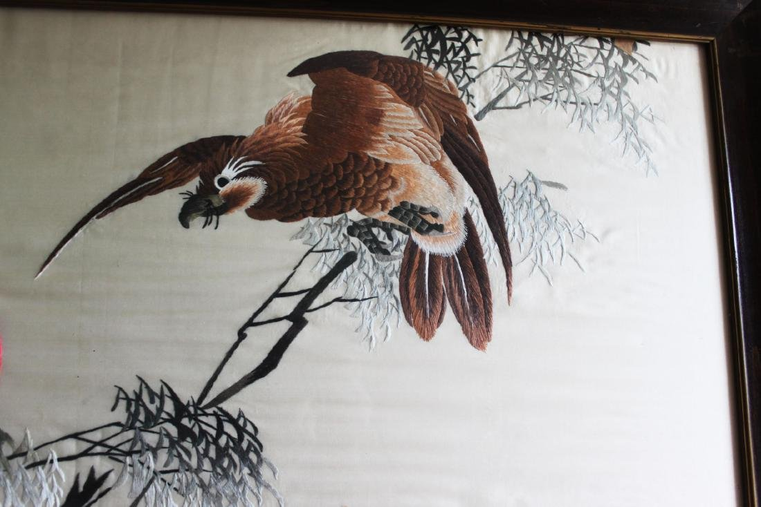 Antique Hand Carved Chinese Silk Painting - 5