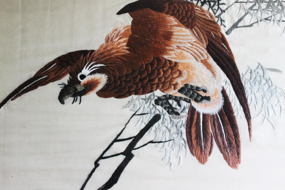 Antique Hand Carved Chinese Silk Painting - 6