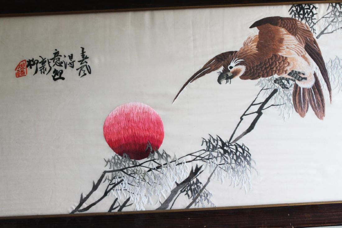 Antique Hand Carved Chinese Silk Painting - 8