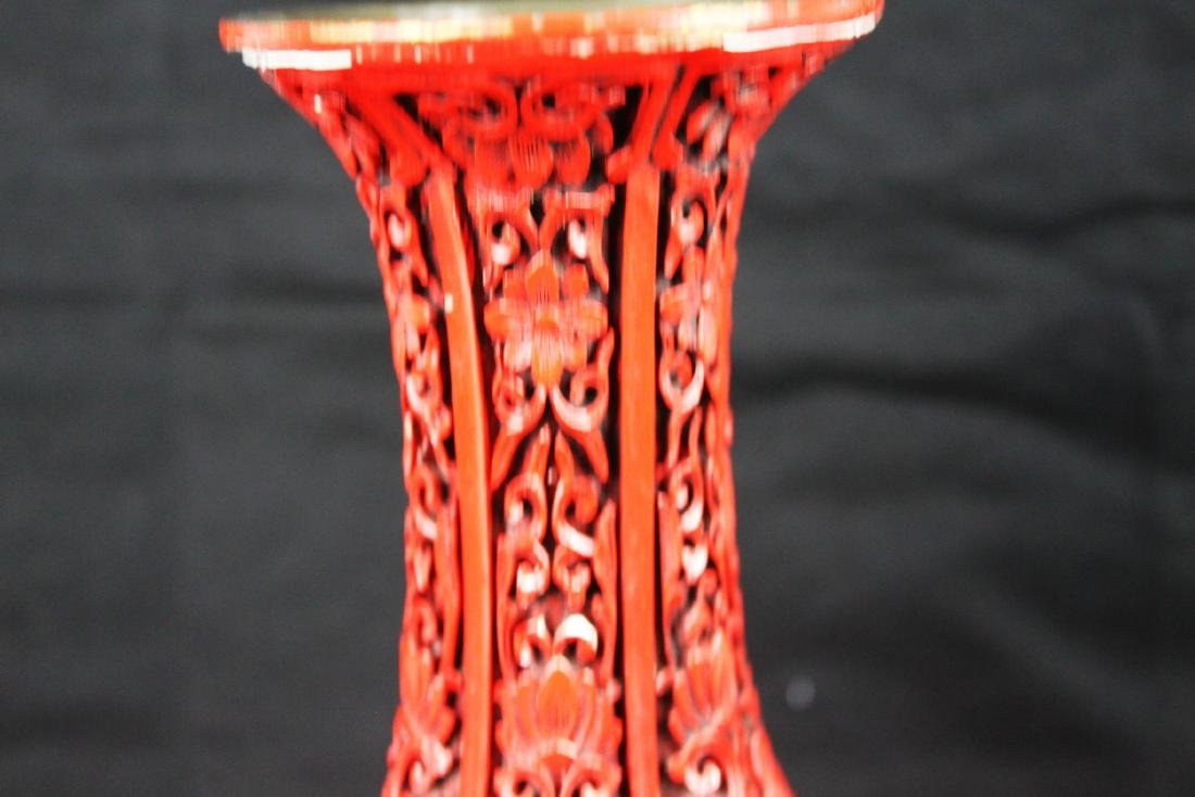 Chinese Carved Cinnabar Lacquered Bronze Vases - 10