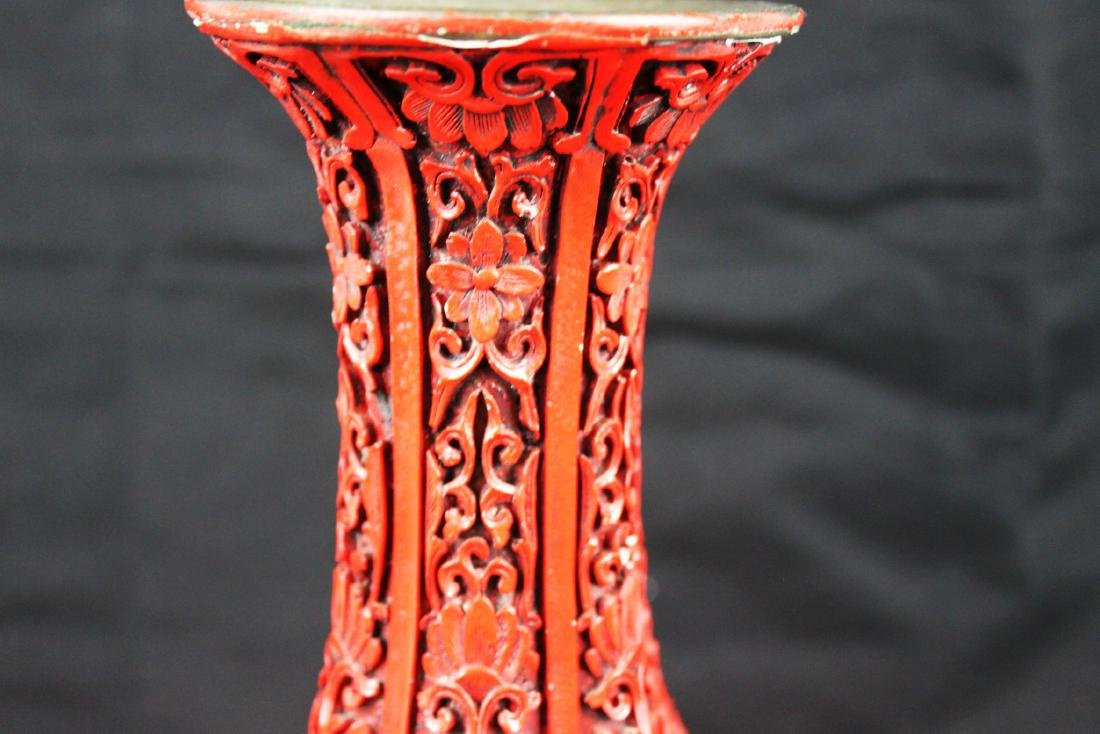 Chinese Carved Cinnabar Lacquered Bronze Vases - 3