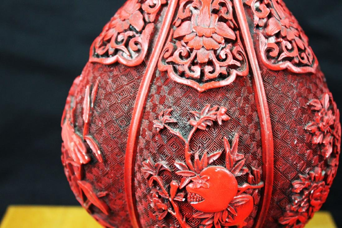 Chinese Carved Cinnabar Lacquered Bronze Vases - 4