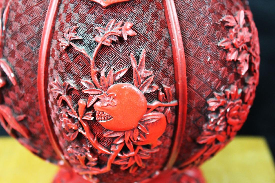Chinese Carved Cinnabar Lacquered Bronze Vases - 5