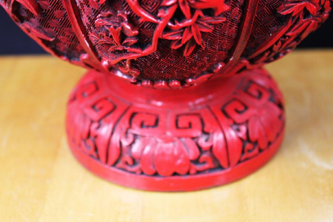 Chinese Carved Cinnabar Lacquered Bronze Vases - 7