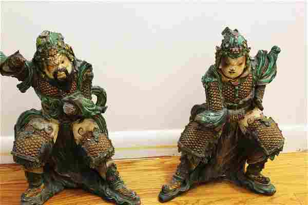 A Pair Antique Chinese Tang San Cai Statue